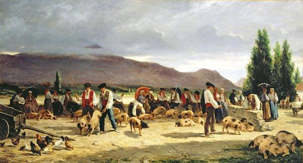 The Poster featuring the painting The Pig Market by Pierre Edmond Alexandre Hedouin