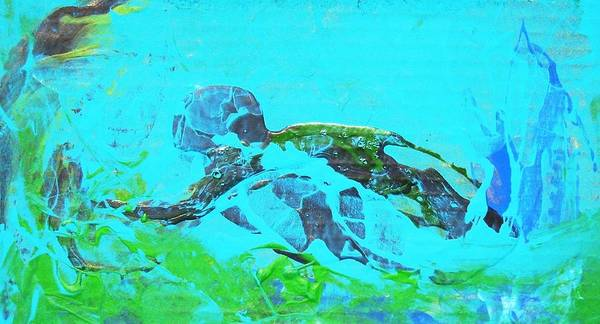 Swimmer Underwater Poster featuring the painting The Swimmer by Bruce Combs - REACH BEYOND