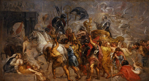 Peter Paul Rubens Poster featuring the painting Triumphal Entry Of Henry Iv In Paris by Peter Paul Rubens