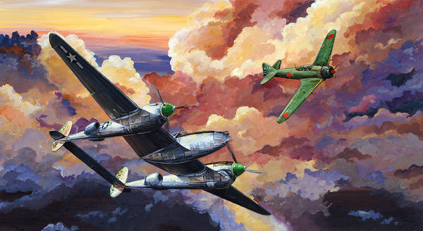 P-38 Poster featuring the painting Uncle Cy's Angel by Charles Taylor