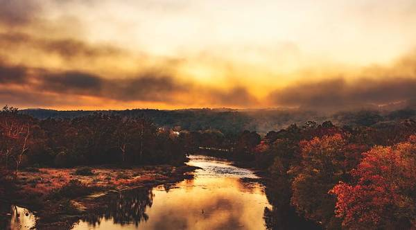 Fog Poster featuring the photograph Fog Over The Greenbrier River by Mountain Dreams