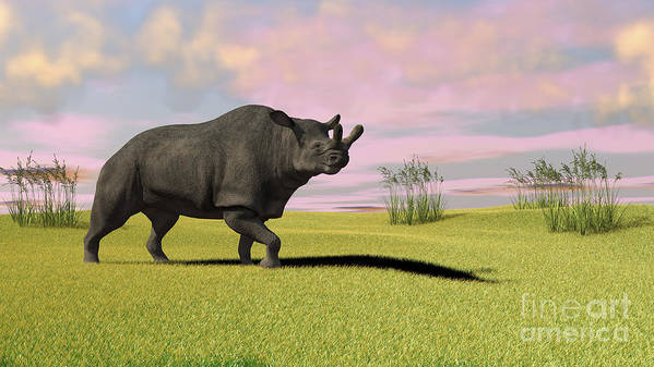 Three Dimensional Poster featuring the digital art Brontotherium Grazing In Prehistoric by Kostyantyn Ivanyshen