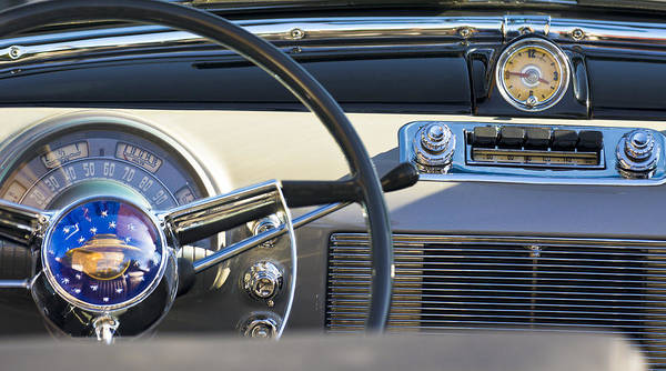 1950 Oldsmobile Rocket 88 Poster featuring the photograph 1950 Oldsmobile Rocket 88 Steering Wheel 3 by Jill Reger
