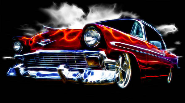 Red Street Rod Poster featuring the photograph 1956 Flamin Chevrolet by Phil 'motography' Clark