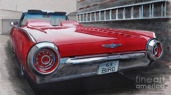 T Bird Poster featuring the drawing 1963 Ford Thunderbird by Paul Kuras
