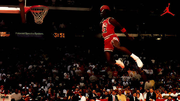 Michael Jordan Poster featuring the digital art Air Jordan In Flight by Brian Reaves