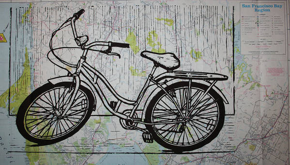 Bike Poster featuring the drawing Bike 5 On Map by William Cauthern