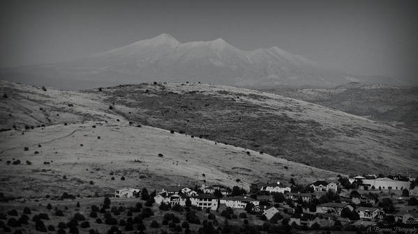 Prescott Poster featuring the photograph Black And White San Francisco Peaks Over Glassford Hill by Aaron Burrows