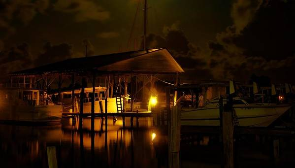 Alabama Poster featuring the digital art Boathouse Night Glow by Michael Thomas