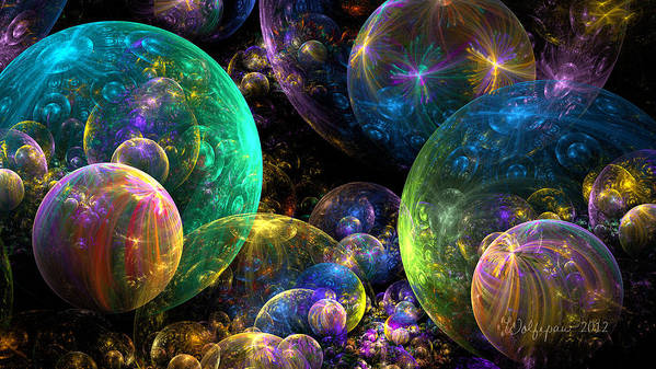 Abstract Poster featuring the digital art Bubbles Upon Bubbles by Peggi Wolfe