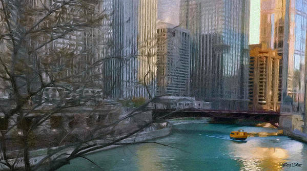 Architecture Poster featuring the painting Chicago River Sunset by Jeffrey Kolker
