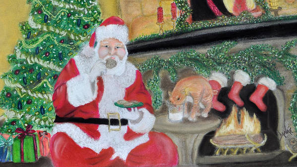 Santa Poster featuring the pastel Christmas Is For Sharing 2 by Danae McKillop