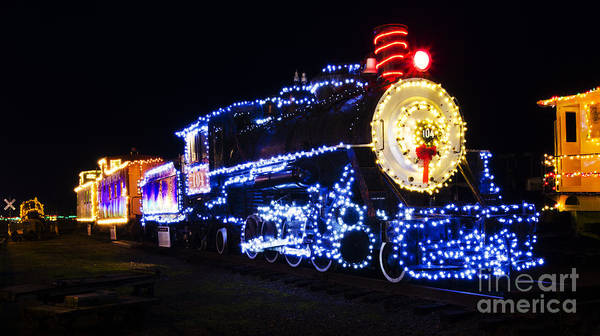 train poster featuring the photograph christmas train coos bay oregon by bob christopher