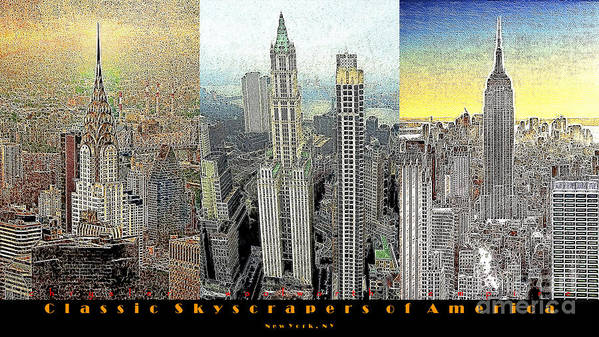Woolworth Building Poster featuring the photograph Classic Skyscrapers Of America 20130428 by Wingsdomain Art and Photography