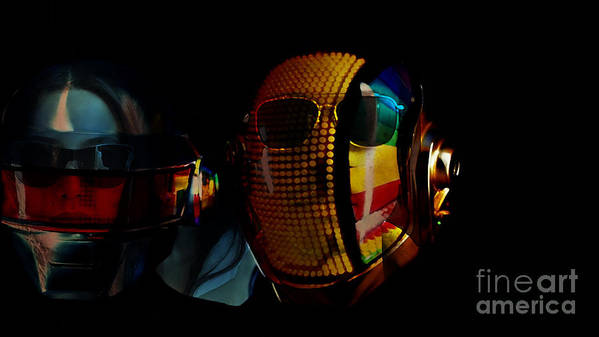 Tron Paintings Mixed Media Poster featuring the mixed media Daft Punk Pharrell Williams by Marvin Blaine