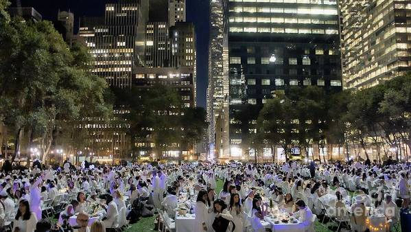 Diner En Blanc Poster featuring the photograph Diner En Blanc New York 2013 by Lilliana Mendez