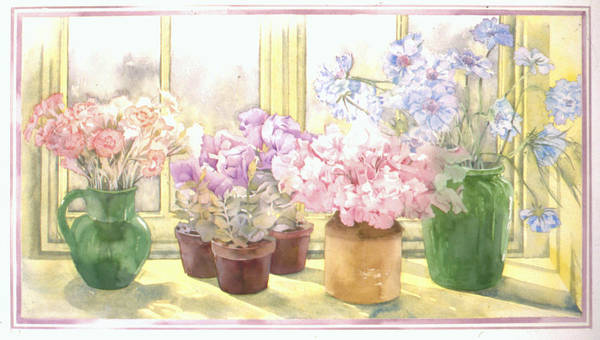 Julia Rowntree Poster featuring the photograph Flowers On The Windowsill by Julia Rowntree