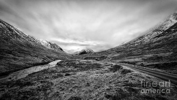 Beautiful Scotland Poster featuring the photograph Glen Etive Road And River by John Farnan