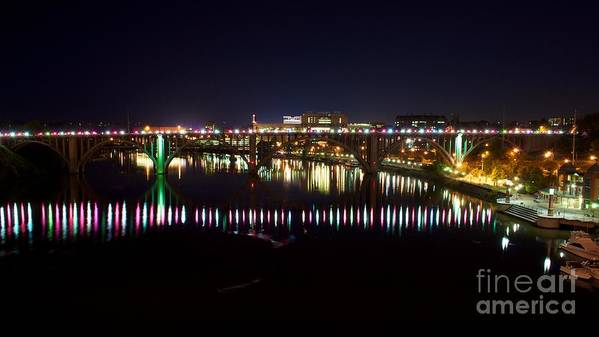 Knoxville Poster featuring the photograph Henley Street Bridge Green And Purple by Matthew Johnson
