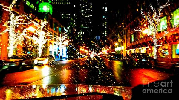 Holiday Light In Boston. Christman Light. Trees Decor. Photograph. Building. Stree Of Holiday. Greeting Cards. Rose Wang Image. Rose Wang Art. Custome Order. Landscape Go Holiday. Poster featuring the photograph Holiday Light by Rose Wang