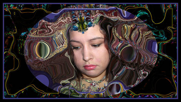 Portrait Poster featuring the digital art Lapislazuli Beauty by Otto Rapp