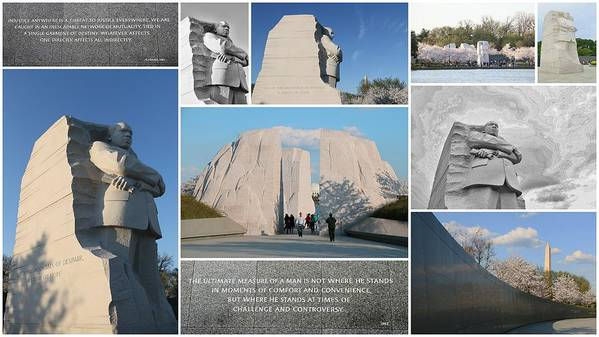 Martin Luther King Memorial Poster featuring the photograph Martin Luther King Jr Memorial Collage 1 by Allen Beatty