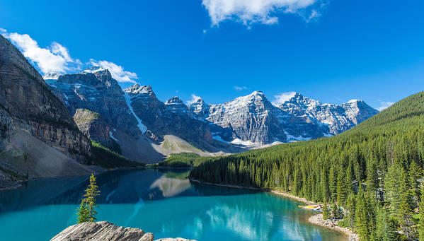 Photography Poster featuring the photograph Moraine Lake At Banff National Park by Panoramic Images