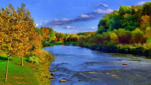 Landscape Poster featuring the painting October On The Cuyahoga by Dennis Lundell