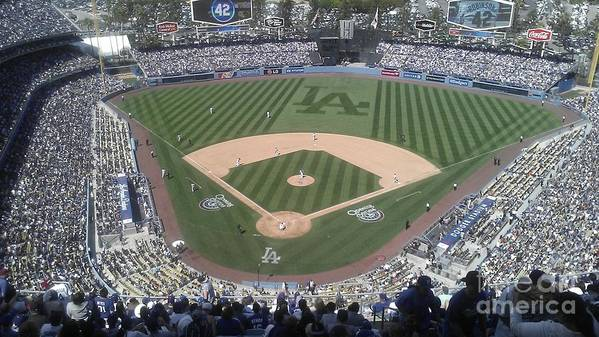 Dodgers Poster featuring the photograph Opening Day Upper Deck by Chris Tarpening