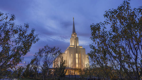Oquirhh Poster featuring the photograph Oquirrh Mountain Temple II by Chad Dutson