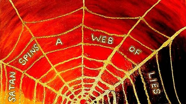 Satan Spins A Web Of Lies Poster featuring the painting Satan's Web by Karen Jane Jones