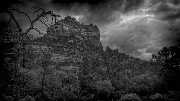 Sedona Poster featuring the photograph Snoopy Mountain In Black And White by Kelly Gibson