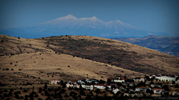 Prescott Poster featuring the photograph Snowy Arizona Peaks And Prairie Hills by Aaron Burrows