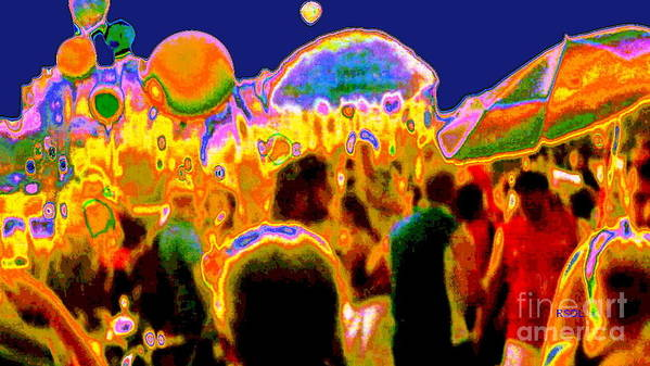 Street Scene Poster featuring the digital art Street Festival At Night by Raphael OLeary