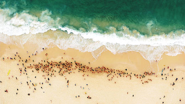 Water's Edge Poster featuring the photograph Swimmers Waiting For An Ocean Race To by Tommy Clarke