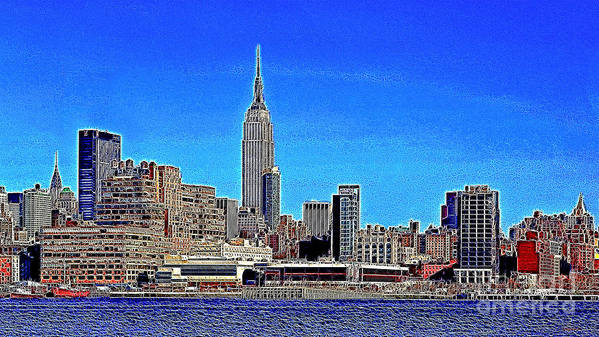 Building Poster featuring the photograph The Empire State Building And The New York Skyline 20130430 by Wingsdomain Art and Photography