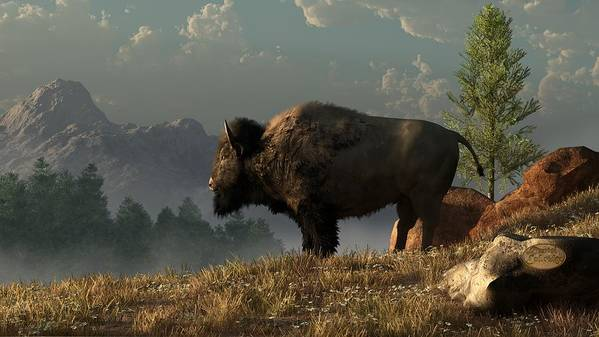Bison Poster featuring the digital art The Great American Bison by Daniel Eskridge
