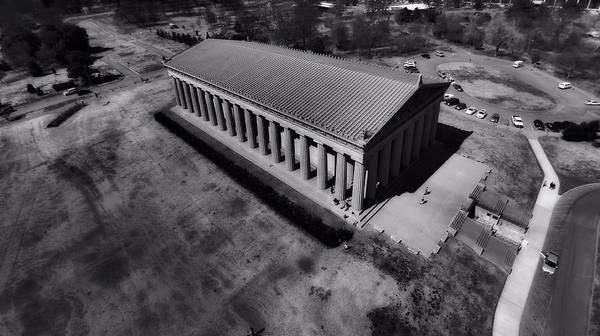 Aerial Photography Of The Parthenon Poster featuring the photograph The Parthenon In Black And White by Dan Sproul