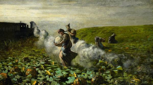 Pumpkin Poster featuring the painting The Pumpkin Harvest by Giovanni Segantini