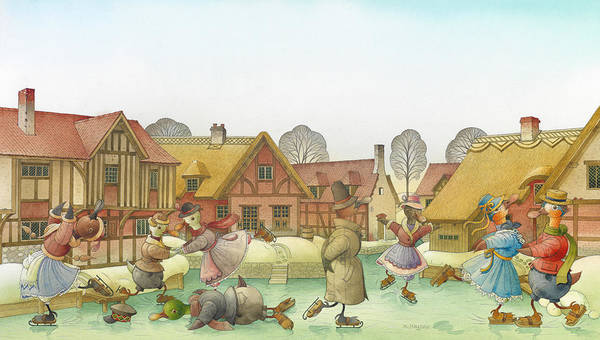 Christmas Ice Dance Skating Snow Winter White Lanscape Holiday Poster featuring the painting The Shaky Knight 02 by Kestutis Kasparavicius