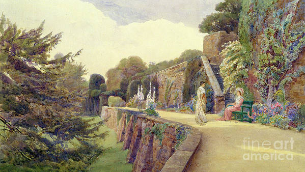 Garden Poster featuring the painting The Terrace At Berkeley Castle by George Samuel Elgood