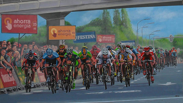 The Vuelta Poster featuring the painting The Vuelta by Paul Meijering