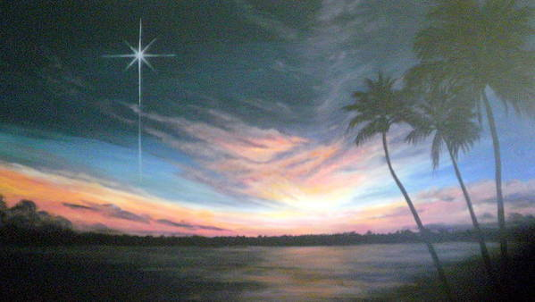 Sunset Poster featuring the painting Tropical Night by Mary Taglieri