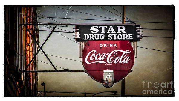 Sign Poster featuring the photograph Vintage Star Drug Store by Perry Webster