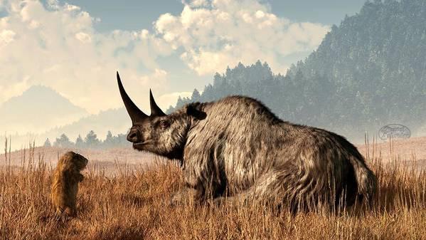 Rhino Poster featuring the digital art Woolly Rhino And A Marmot by Daniel Eskridge