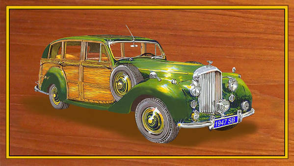 1947 Bentley Shooting Brake Framed Art Of 1947 Bentley Shooting-brakes. Framed Art Of British Woody�s. Watercolor Prints Of Uk Woody�s. Prints Of Cool English Wood-paneled Station Wagons. Surf�s Up Art. Art Of Surfing. Prints Of Hispano-suiza Shooting Brakes Poster featuring the painting 1947 Bentley Shooting Brake by Jack Pumphrey
