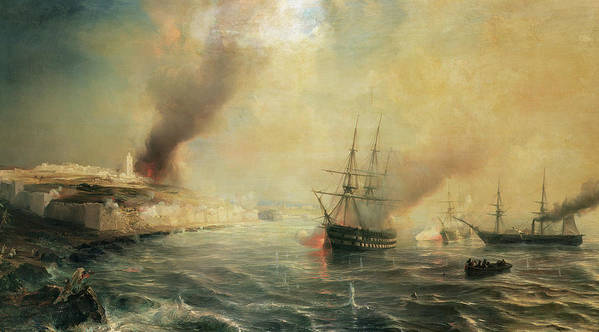 Bombardment Of Sale Poster featuring the painting Bombardment Of Sale by Jean Antoine Theodore Gudin