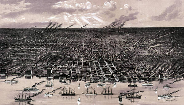 1880s Poster featuring the photograph Detroit. Birds Eye View--showing by Everett