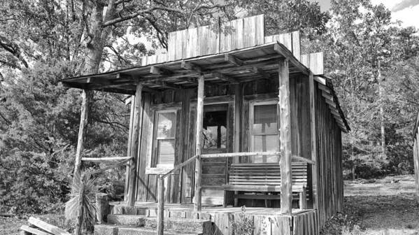 Fireman Cottage -ouachita Mountains Poster featuring the photograph Fireman Cottage B And W by Douglas Barnard