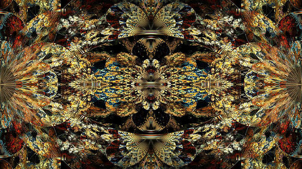Abstract Poster featuring the digital art Golden Split Crop by Peggi Wolfe